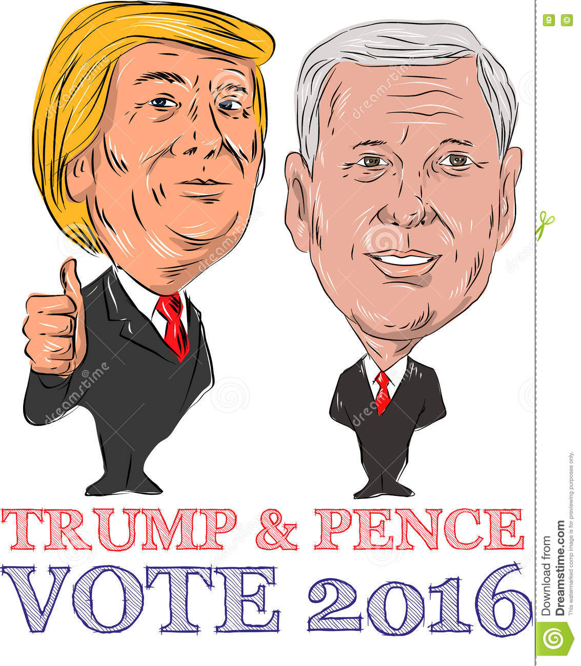 trump and pence vote 2016 editorial photo illustration of candidate