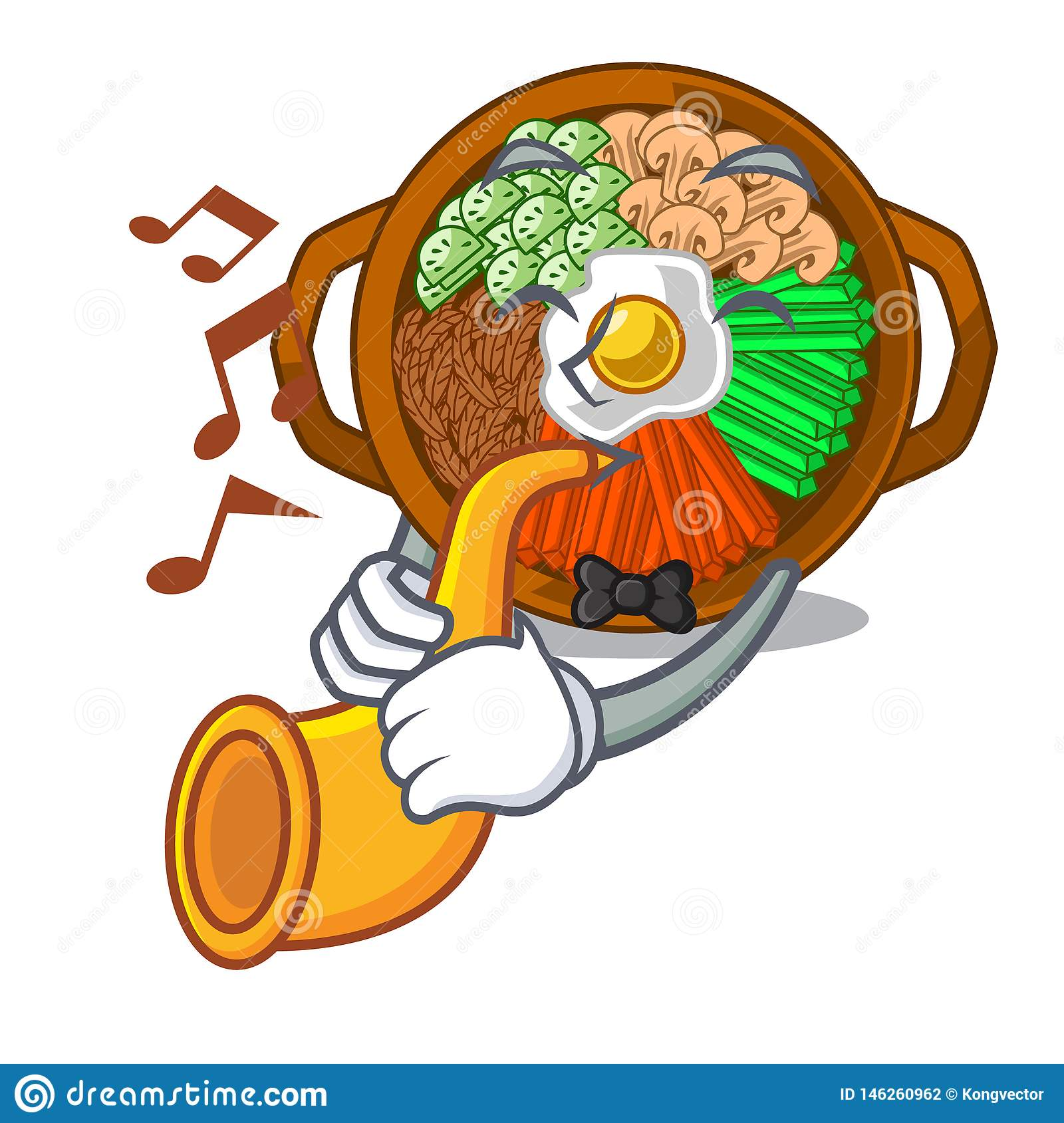With trumpet bowl of bibimbap in cartoon shape