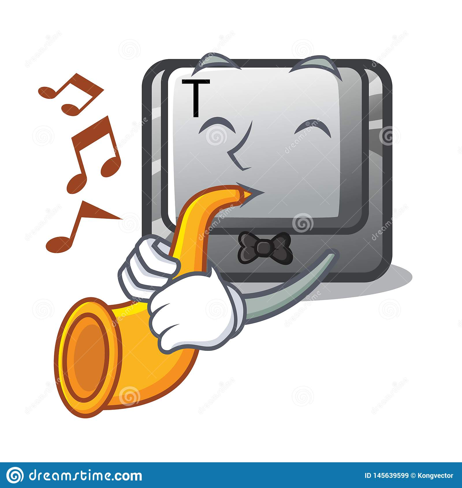With trumpet button T in the keyboard cartoon