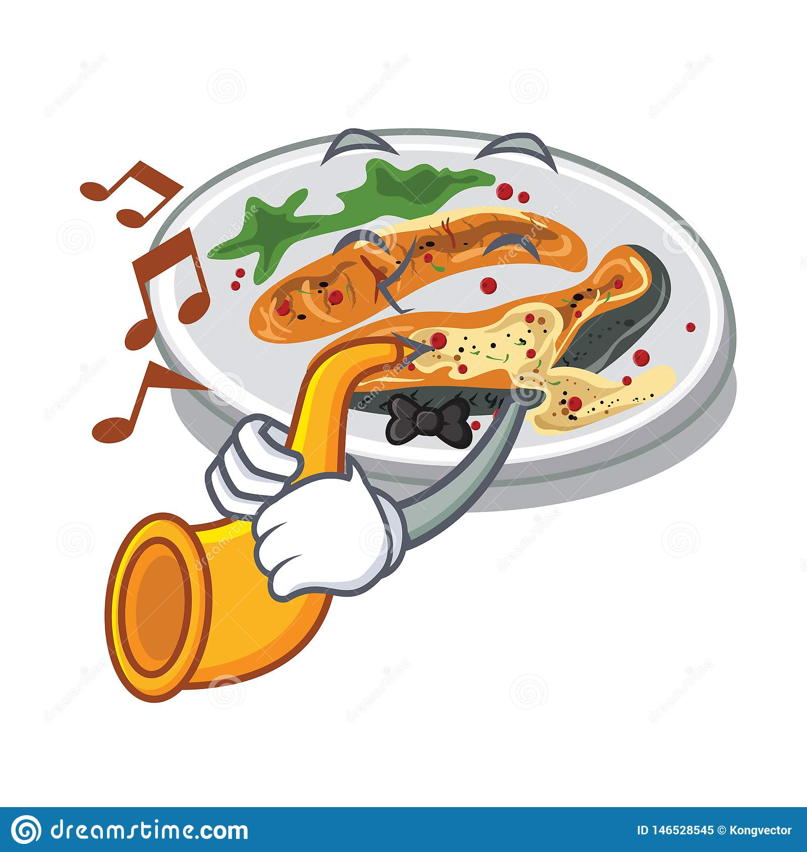 With trumpet grilled salmon served on cartoon board