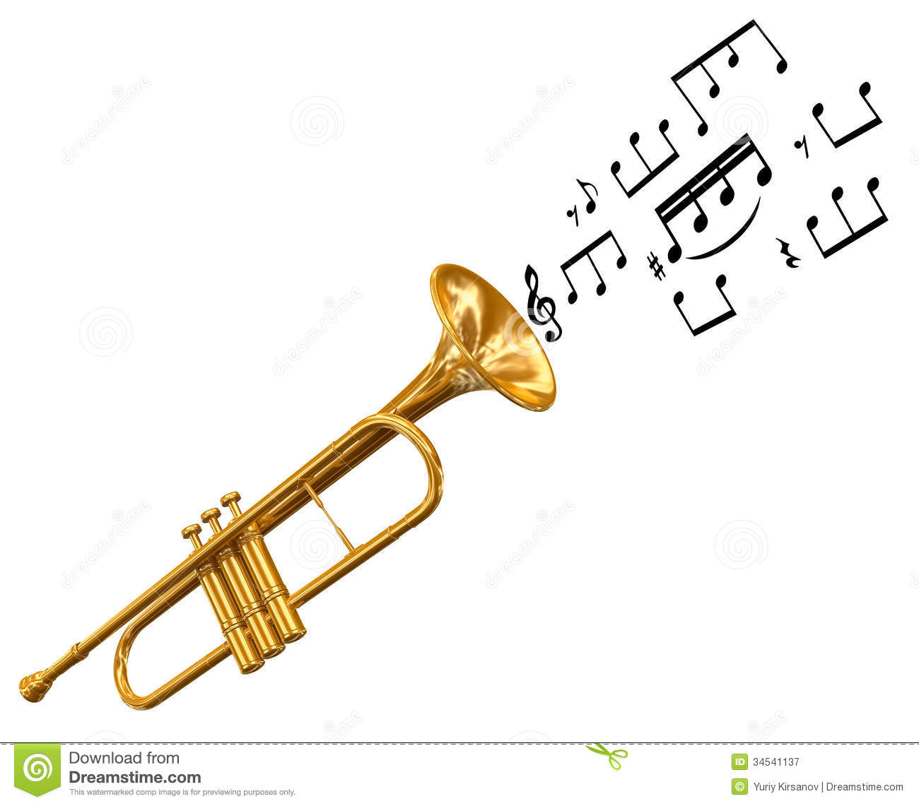 Trumpet With Music Notes (clipping Path Included) Royalty Free Stock ...