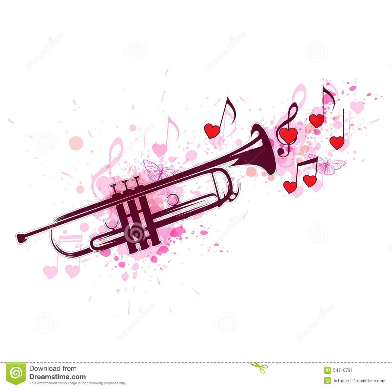Trumpet, Notes And Red Hearts Stock Vector - Illustration of romance