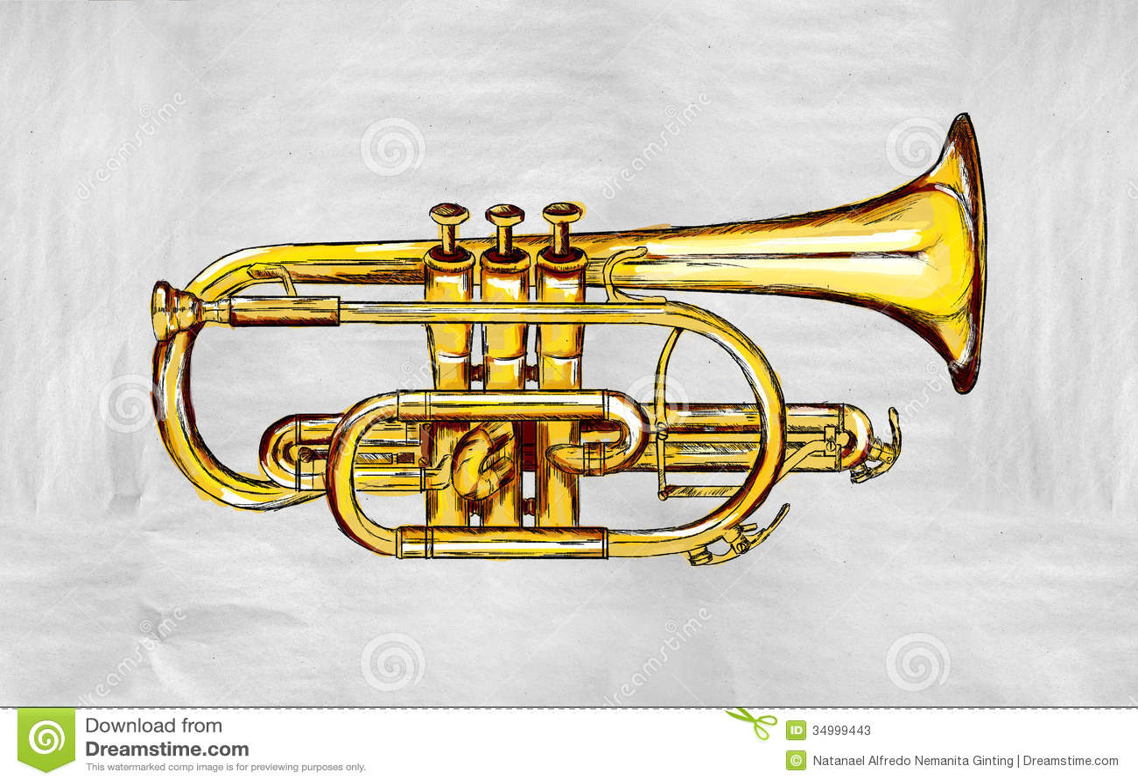 Trumpet Painting Image stock illustration. Illustration of musician ...