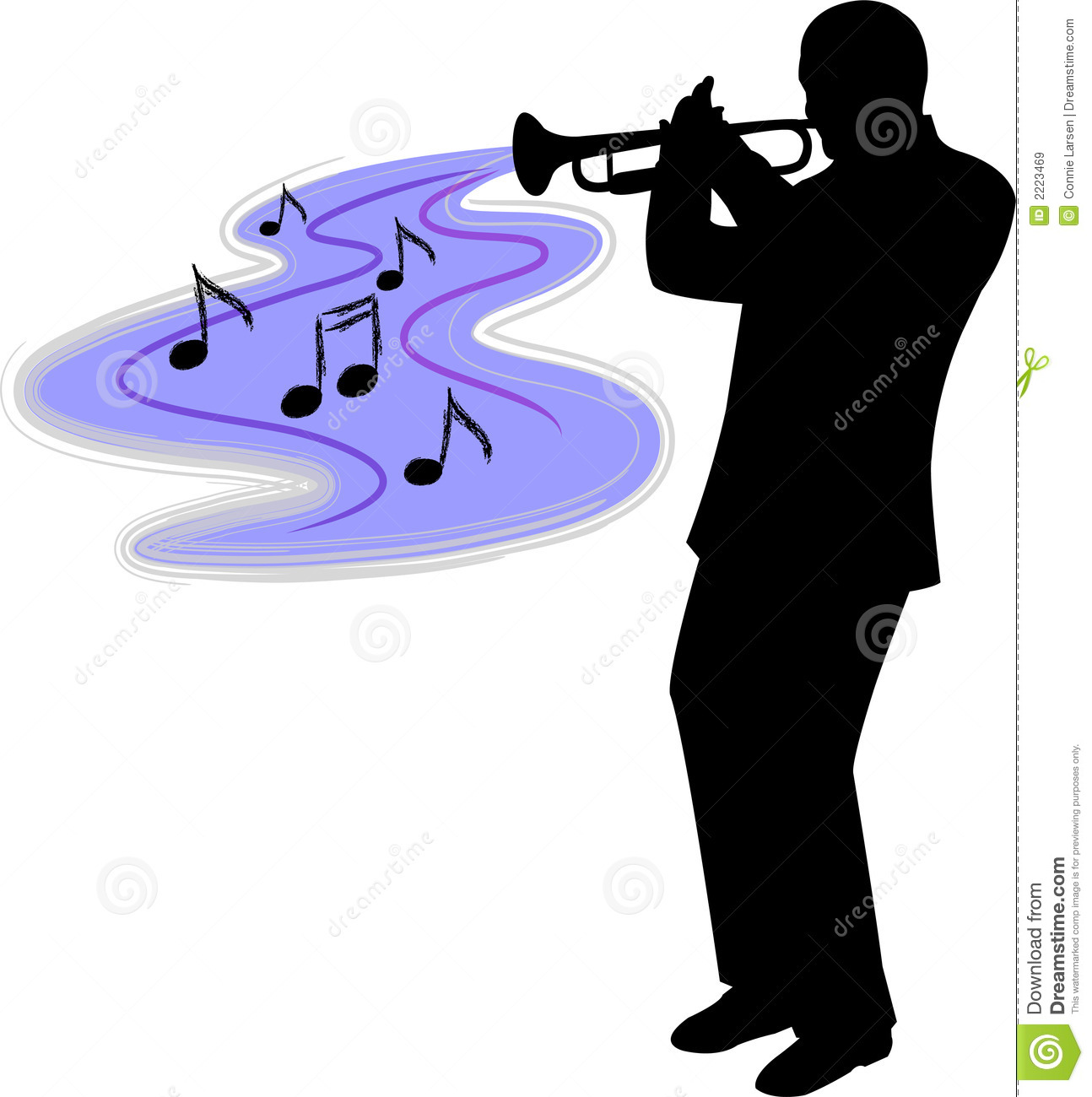 Silhouette illustration of a man playing blues or jazz trumpet...ai ...