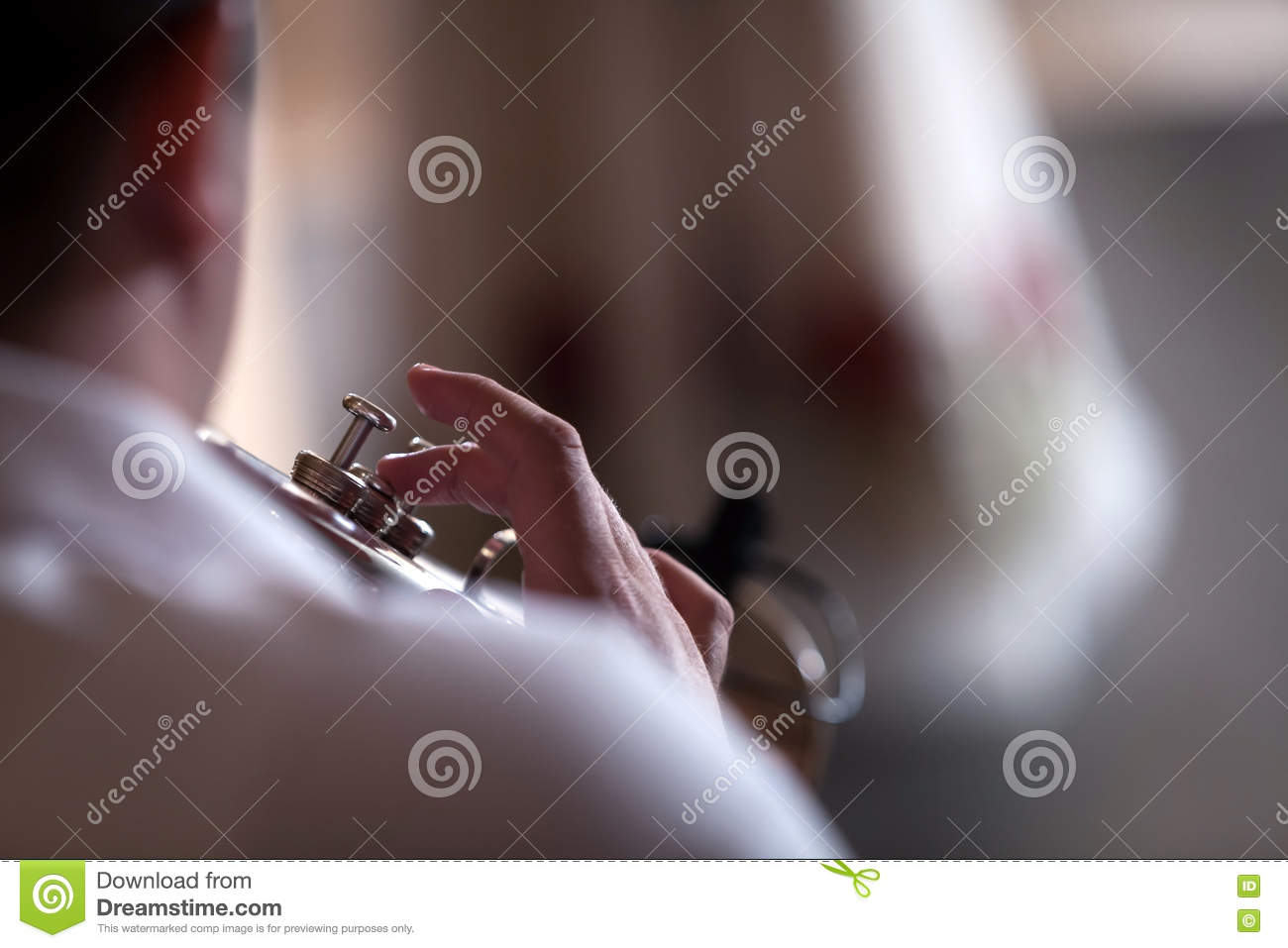 Trumpet player stock image  Image of rhythm, closeup - 80527913