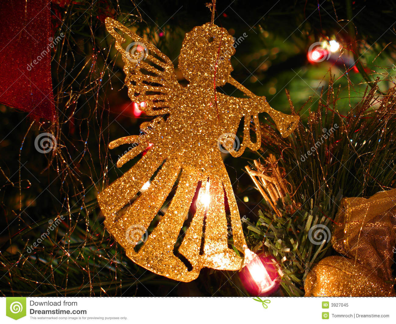 Trumpeting angel christmas decoration stock image image for Angel christmas tree decoration