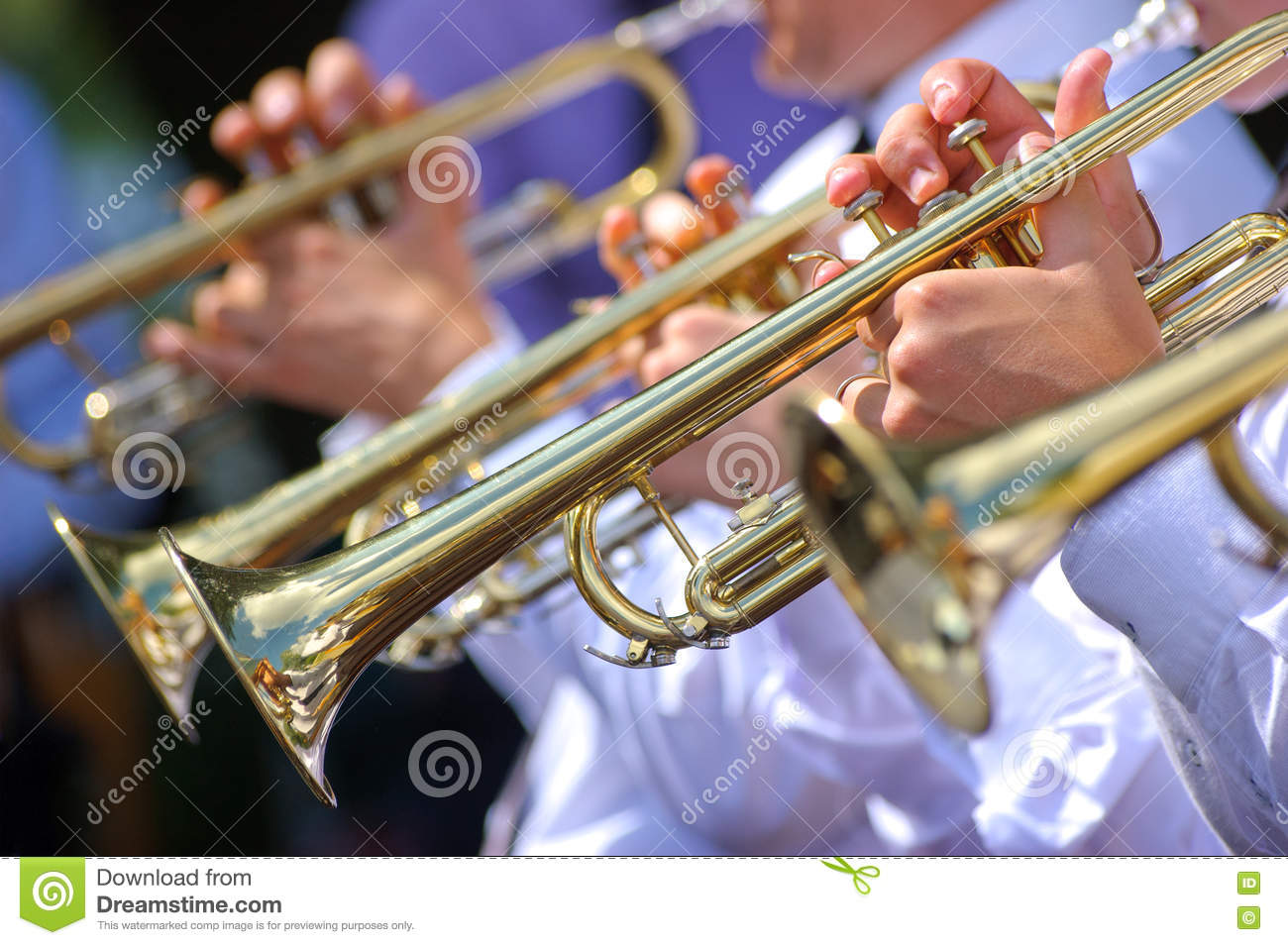 Trumpets in orchestra stock image  Image of song, performance - 78799747