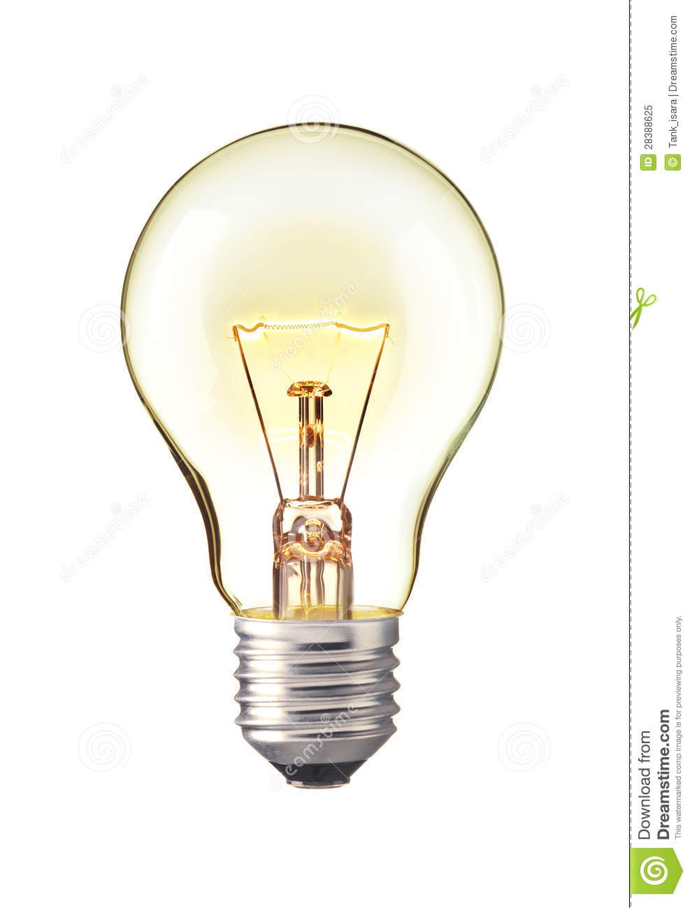 Trun On Tungsten Light Bulb Realistic Photo Image Royalty Free Stock Photo Image 28388625