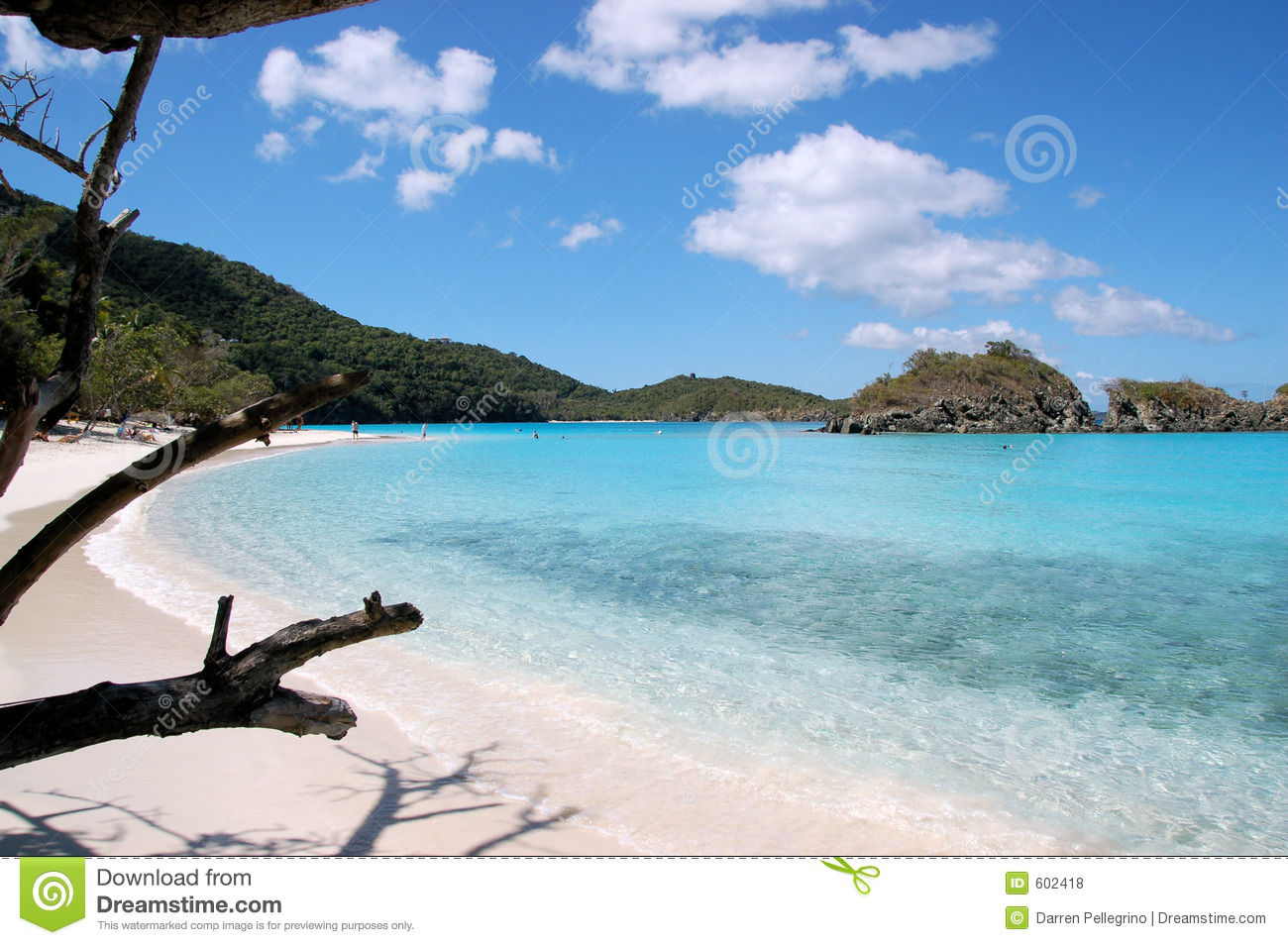 Caribbean Beach Scenes: Trunk Beach Royalty Free Stock Photos