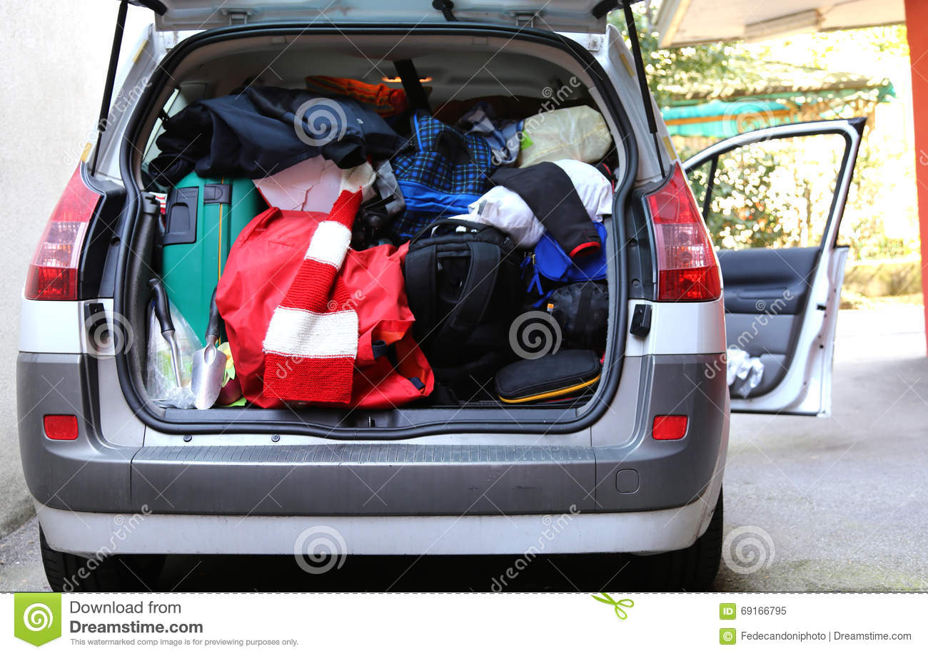 trunk of the car very overloaded with bags and luggage stock image image of family loading. Black Bedroom Furniture Sets. Home Design Ideas