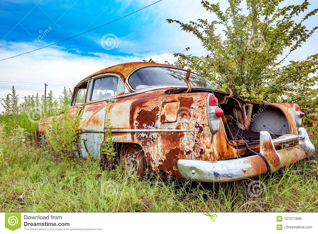 Rusty Salvage Yard Car stock photo  Image of morning - 101311666
