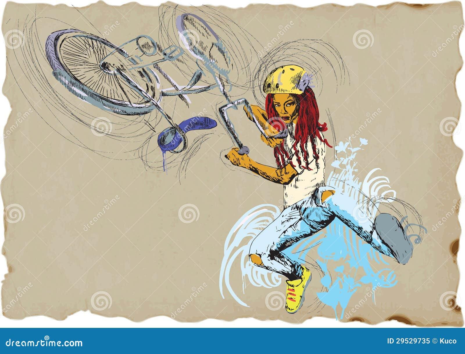 Truque do estilo livre - bicicleta - menina
