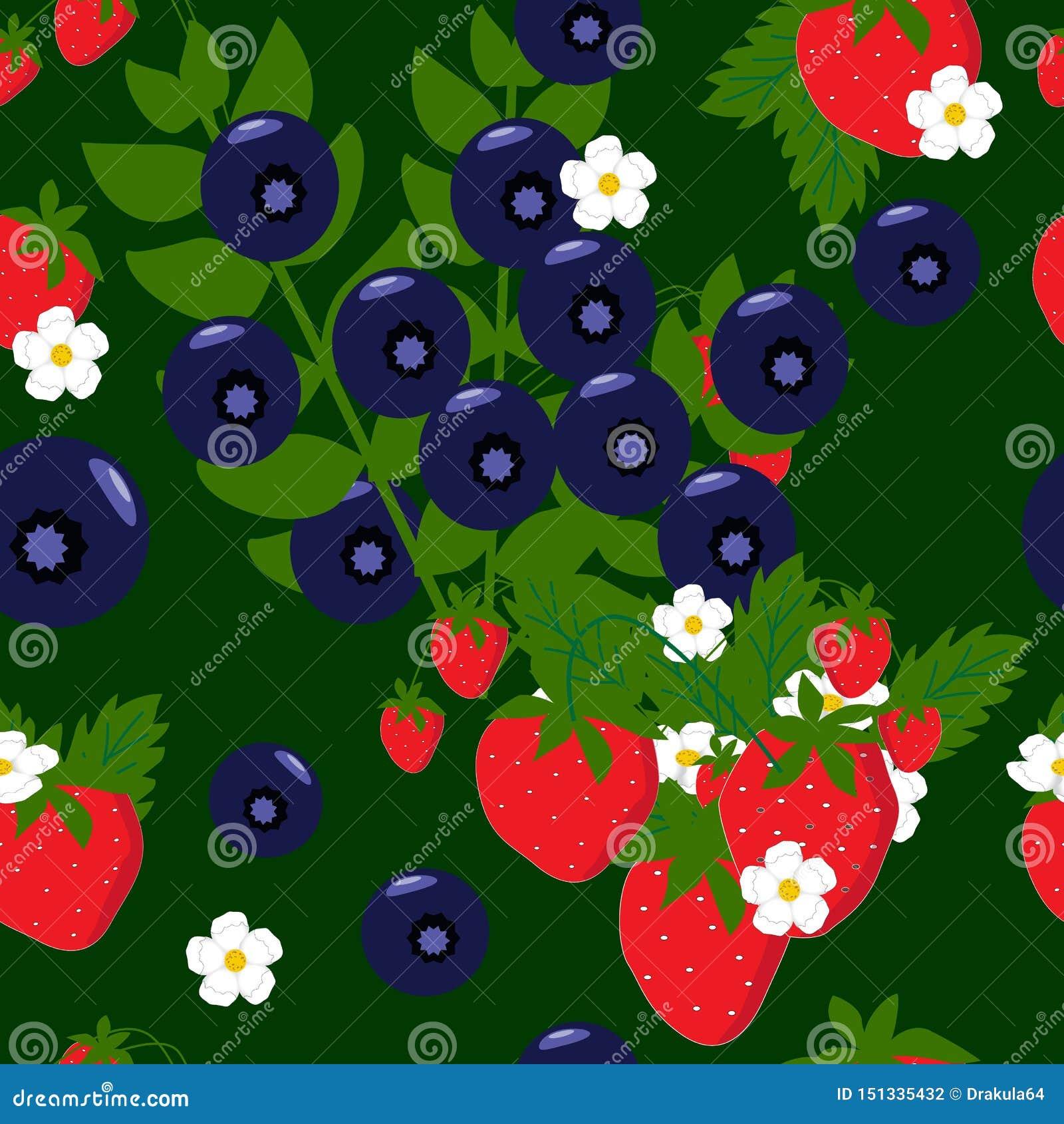 Truskawki i czarne jagody z kwiatu bezszwowym tłem