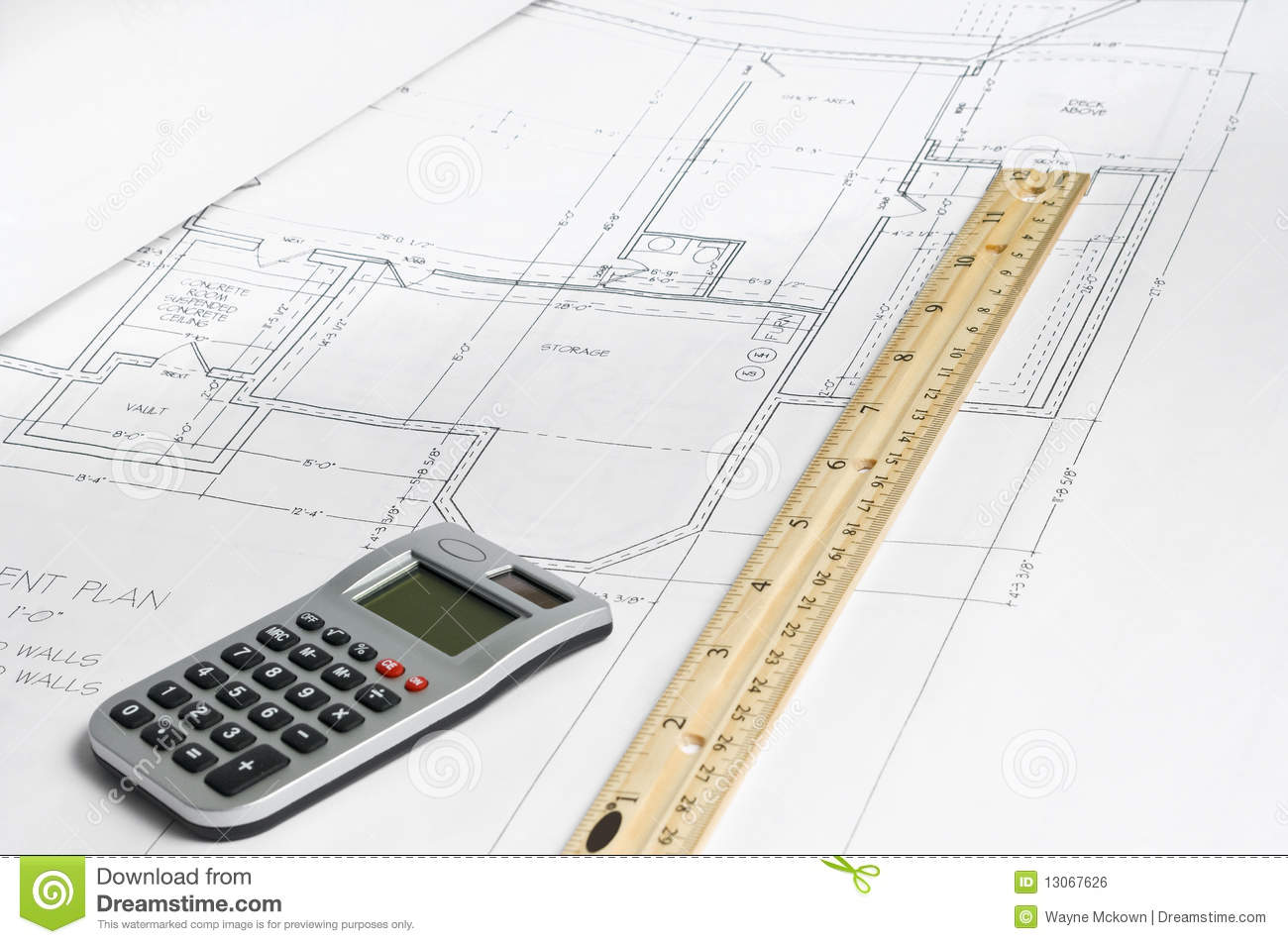 wood truss diagram with calculator,and ruler.