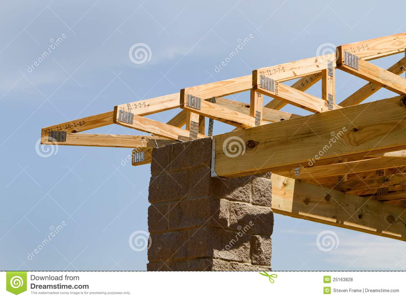 Truss roof construction stock photo image of trusses for Roof truss construction