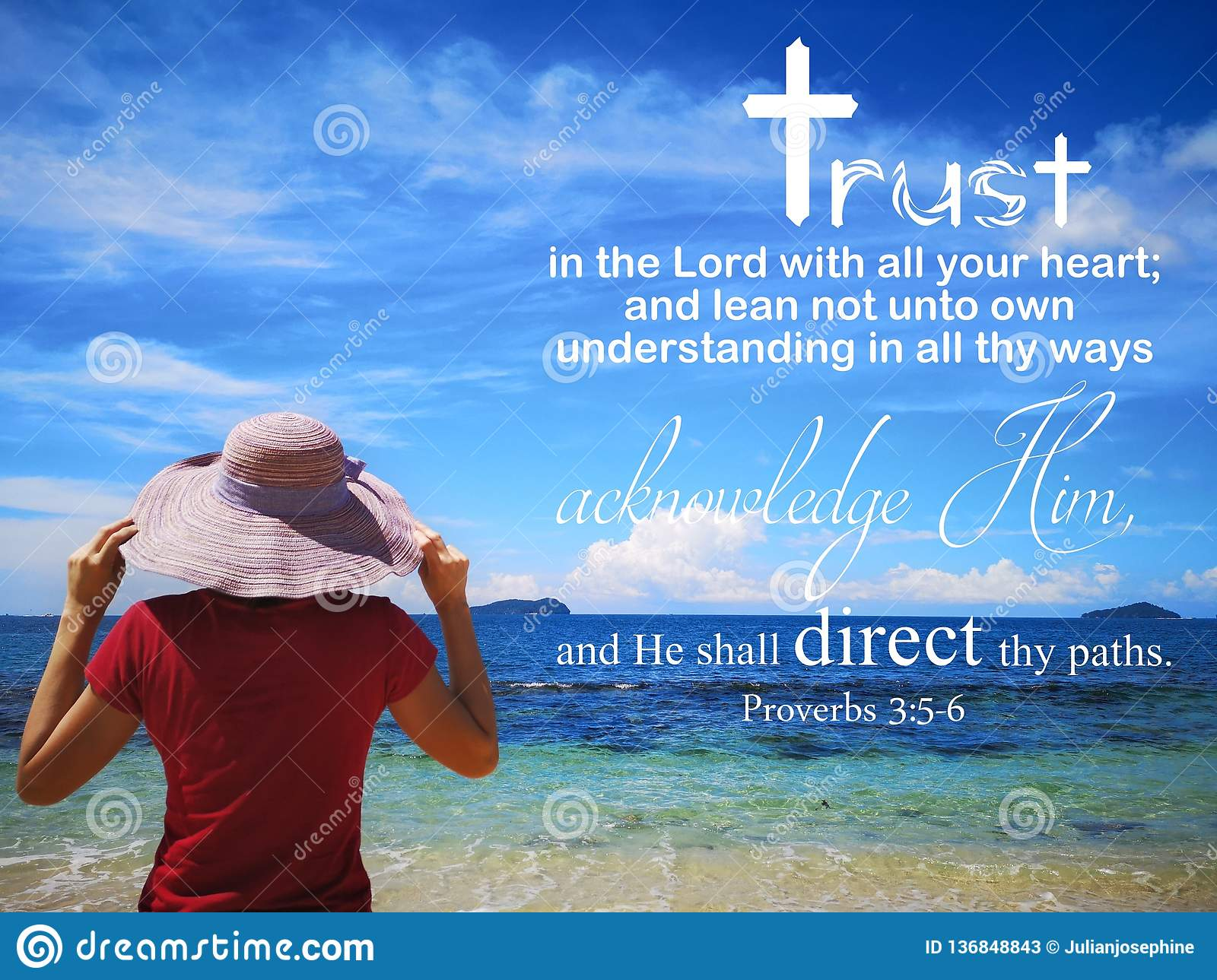 Trust In God With Background Ocean View And A Lady Look Up To The
