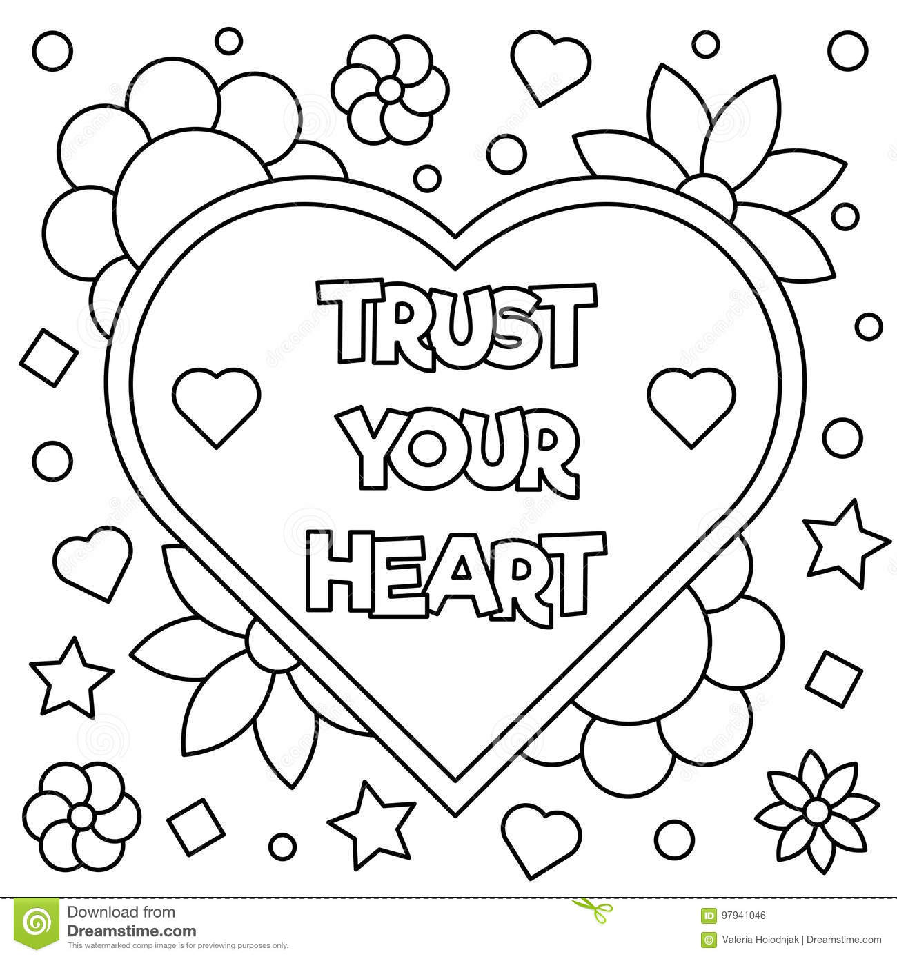 Trust Your Heart. Coloring Page. Vector Illustration. Stock ...