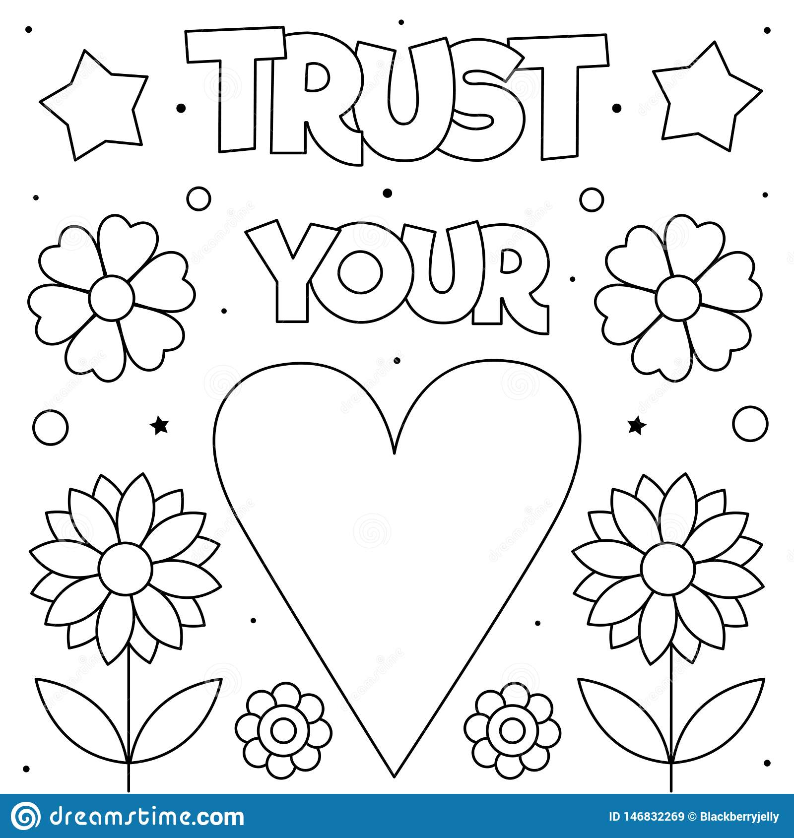Trust Your Heart. Coloring Page. Vector Illustration. Heart ...