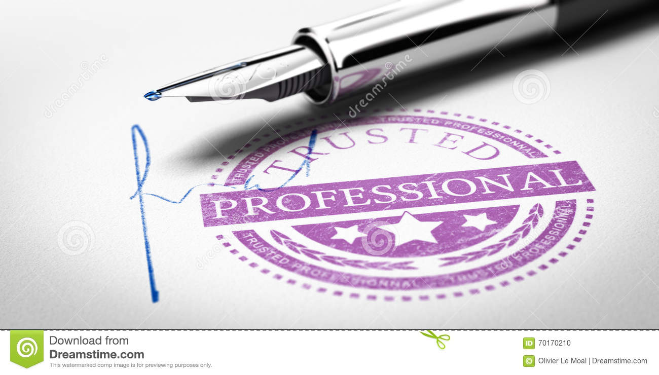 Trusted Professional Rubber Stamp Mark Imprinted On A Paper Texture With Signature And Fountain Pen Concept Image For Illustration Of Trustworthy Business