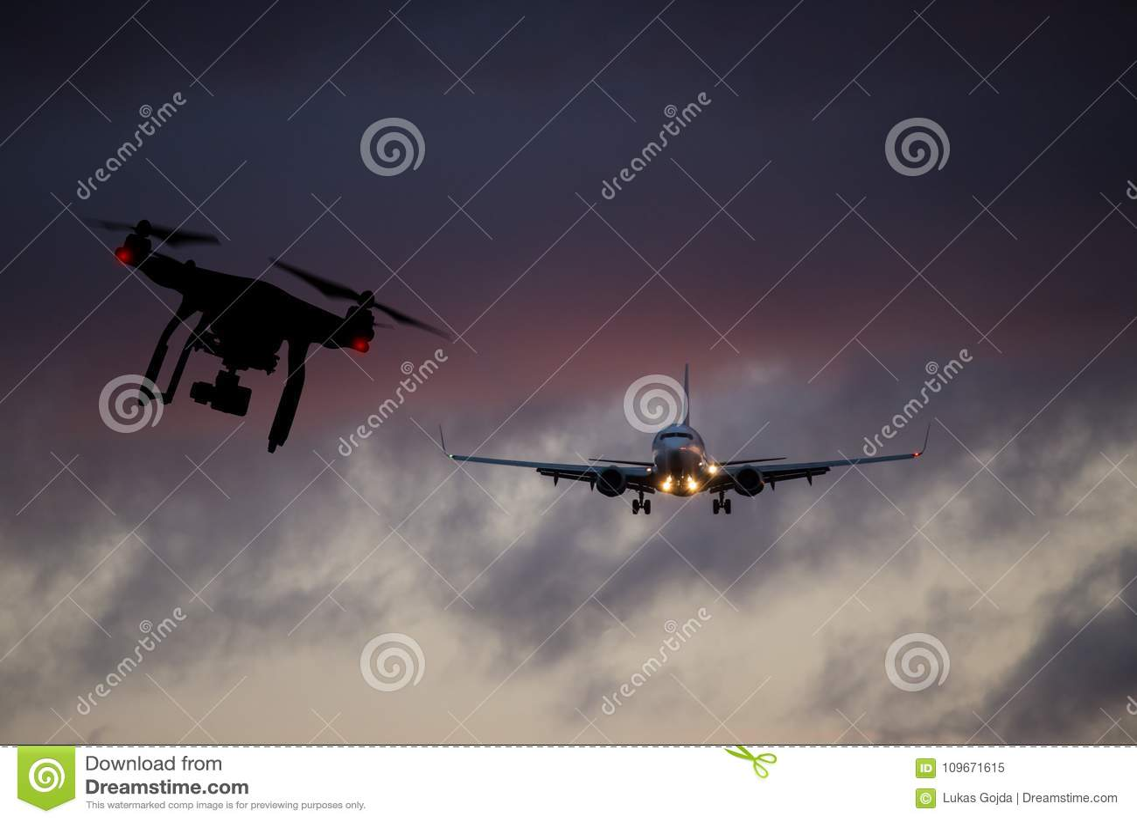 Truteń lata blisko handlowego samolotu