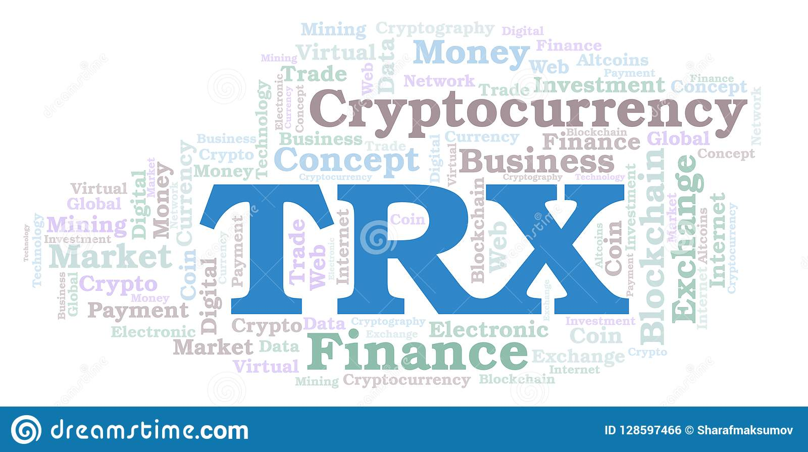 TRX Or TRON Cryptocurrency Coin Word Cloud  Stock Illustration