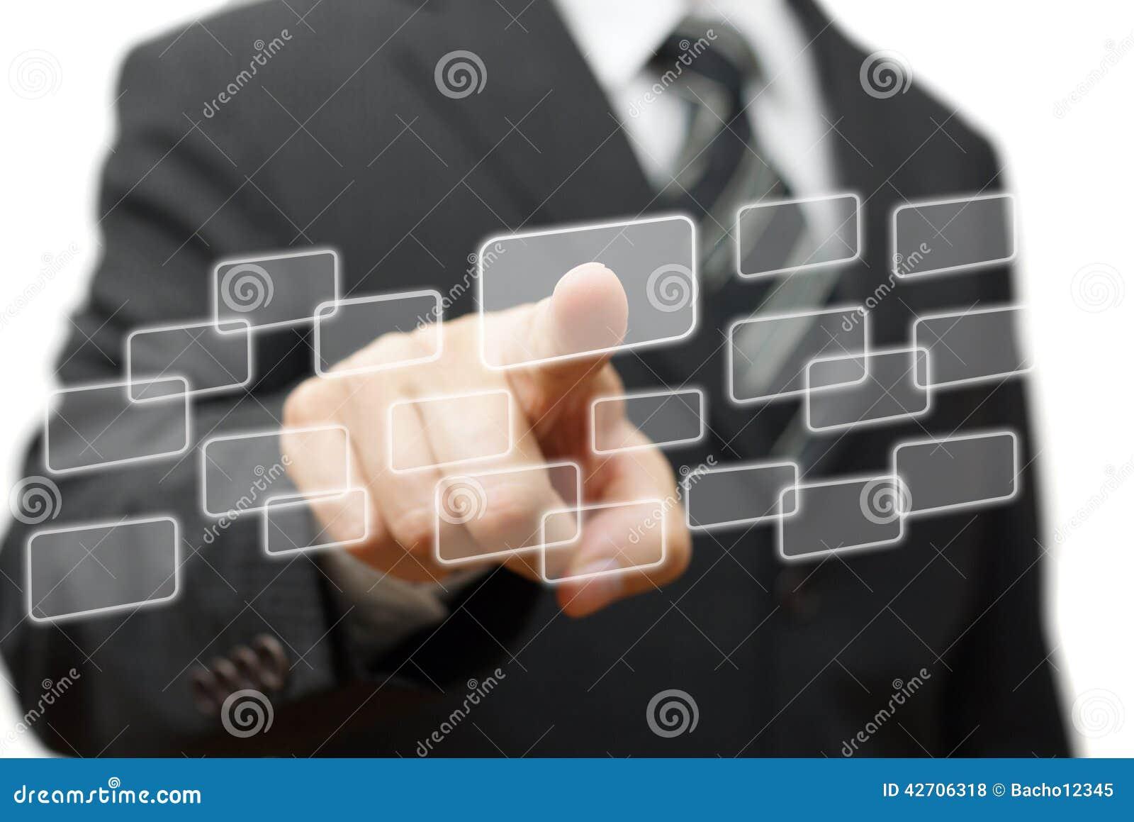 Trycka på för affärsmanknappar som är faktiskt Välja och teknologi Co