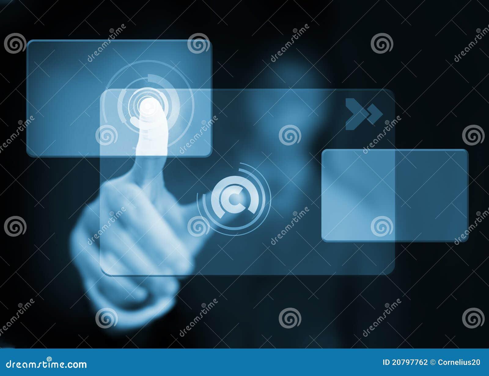 Trycka på för knapphand som är faktiskt
