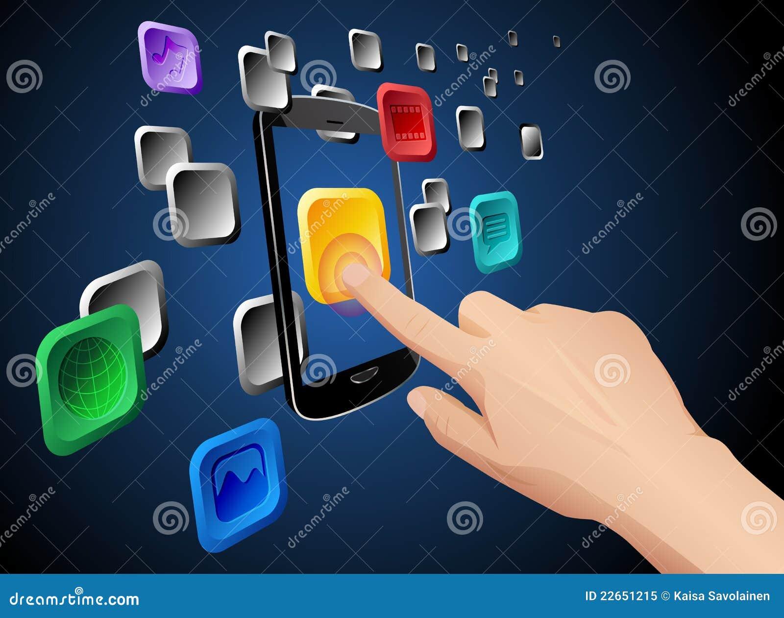 Trycka på för symbol för app-oklarhetshand mobilt