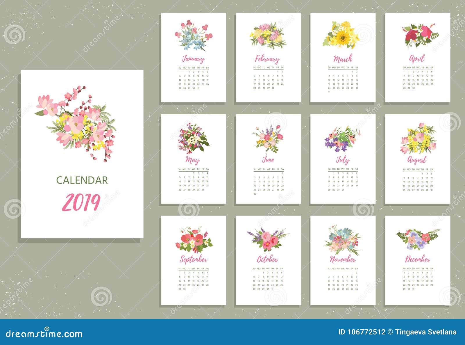 Tryckbar kalender 2019 med nätta färgrika blommor