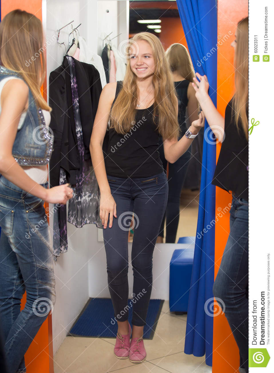 Trying Clothes In Fashion Store Stock Image Image Of Lifestyle Female 60023311