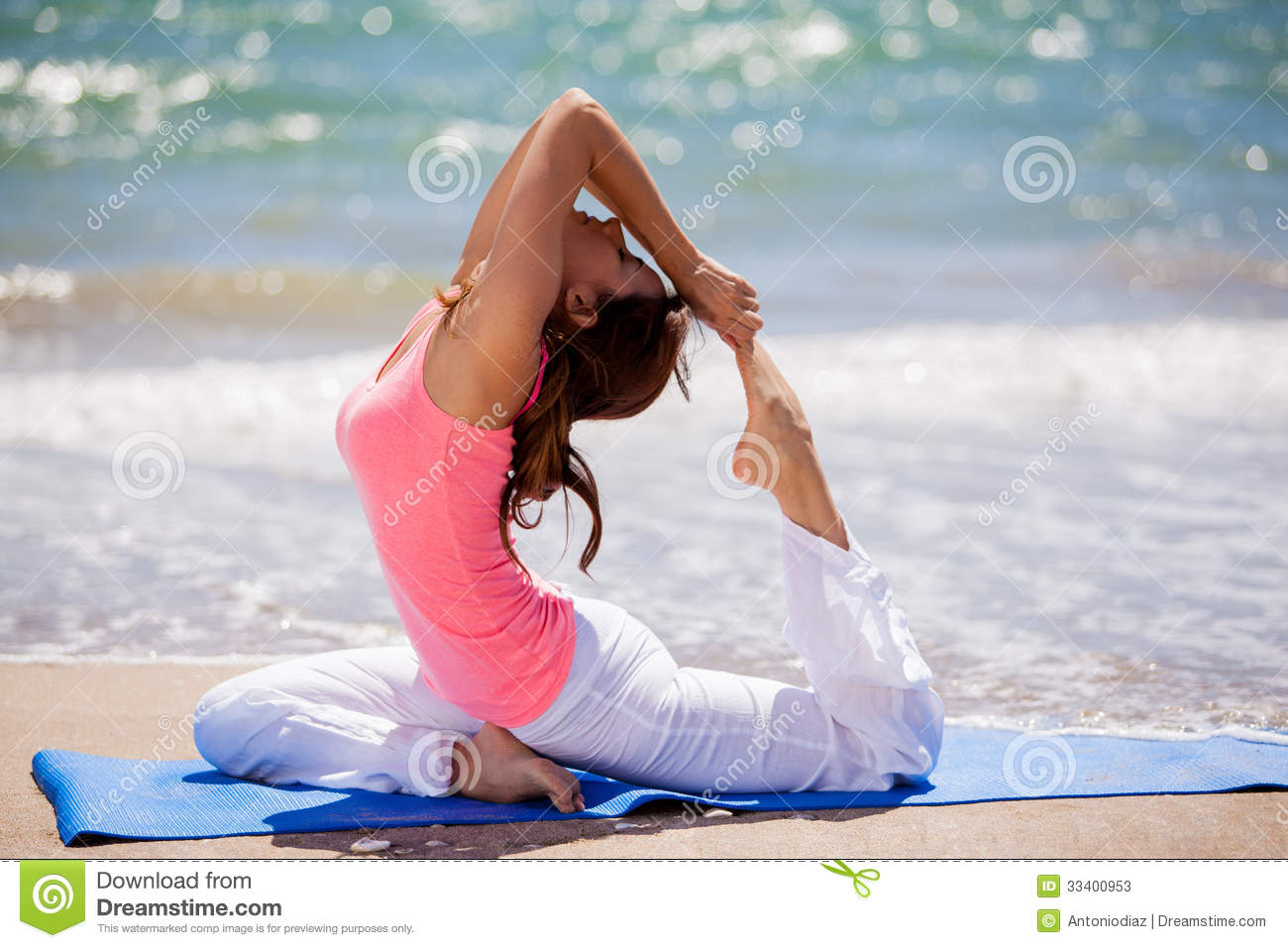 Trying Some Yoga Poses At The Beach Stock Photos Image 33400953