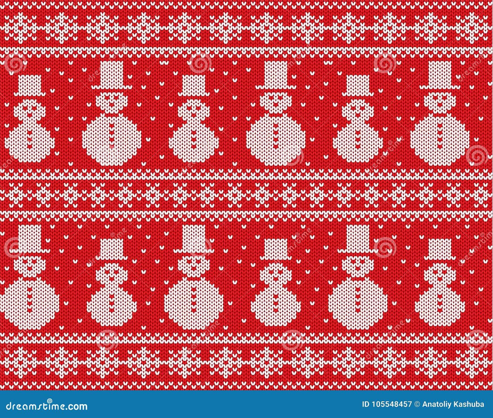 Trykotowy boże narodzenie projekt z bałwanami i płatkami śniegu Geometrycznej dzianiny bezszwowy ornament