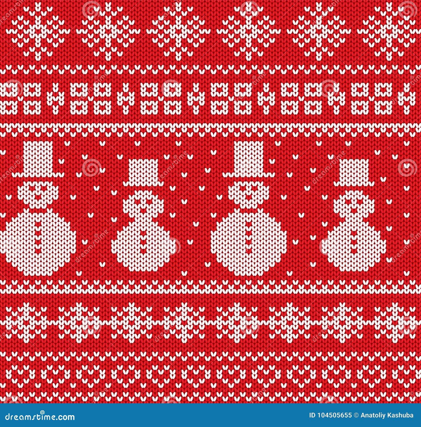 Trykotowy bożego narodzenia tło z bałwanami i płatkami śniegu Geometrycznej dzianiny bezszwowy wzór