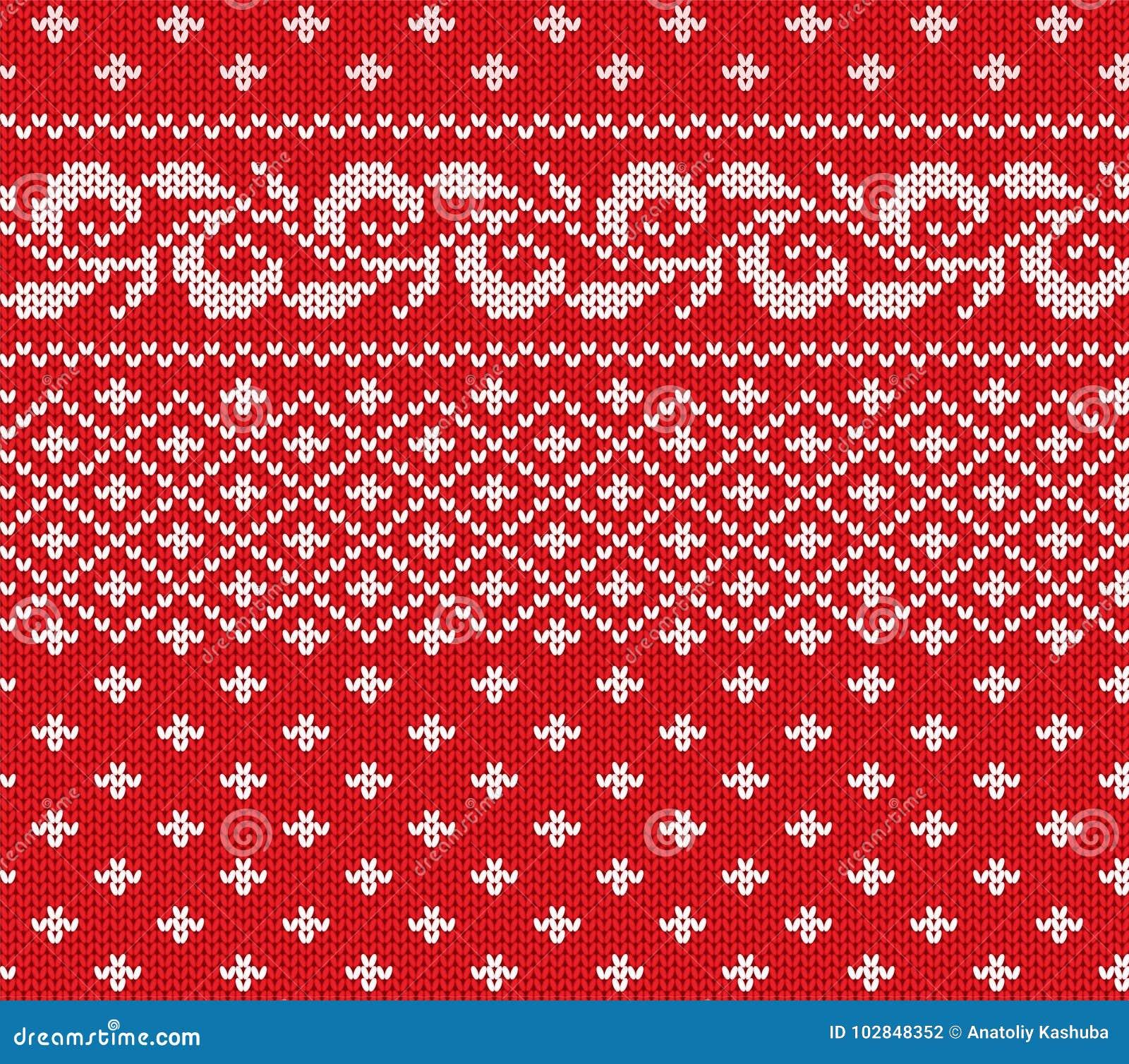 Trykotowy bożych narodzeń czerwień i biały kwiecisty bezszwowy ornament Xmas dzianiny zimy puloweru tekstury projekt