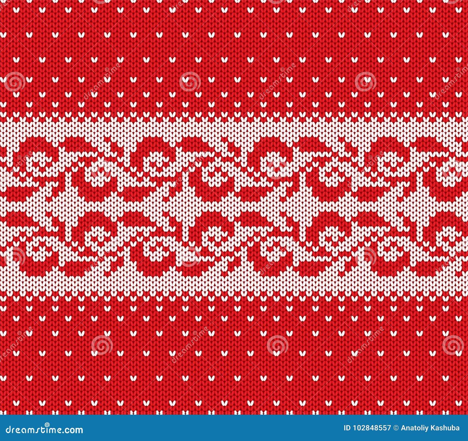 Trykotowy bożych narodzeń czerwień i biały kwiecisty bezszwowy ornament z spada śniegiem Xmas dzianiny zimy puloweru tekstury pro