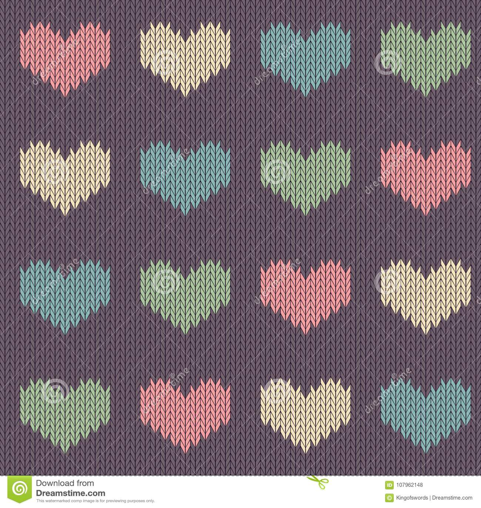 Trykotowy woolen bezszwowy wzór z barwionymi sercami na rocznik purpur tle