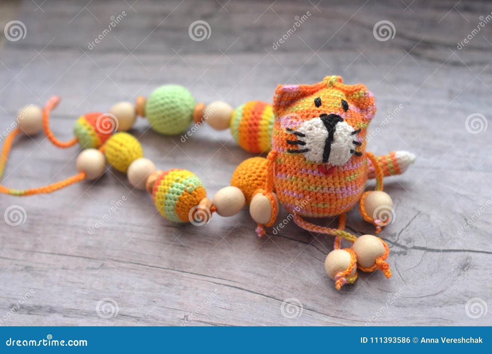 Trykotowych menchii pasiasty handmade wykonujący ręcznie kot Dziecka ` s zabawka Szydełkuje wzór Rękodzieło produkcja
