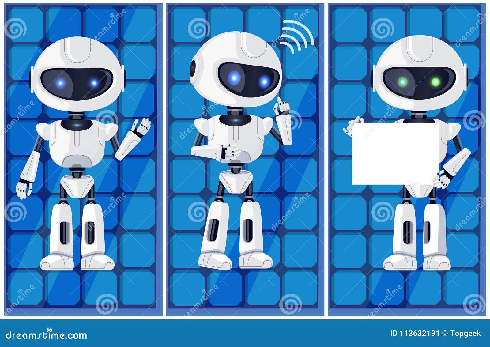 Trzy bielu Ai maszyn wektoru Glansowana ilustracja