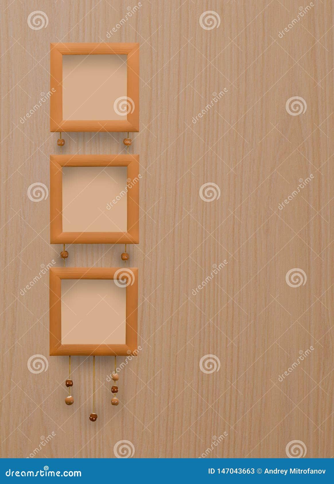 Trzy brązu fotografii mała rama Drewniana tekstura