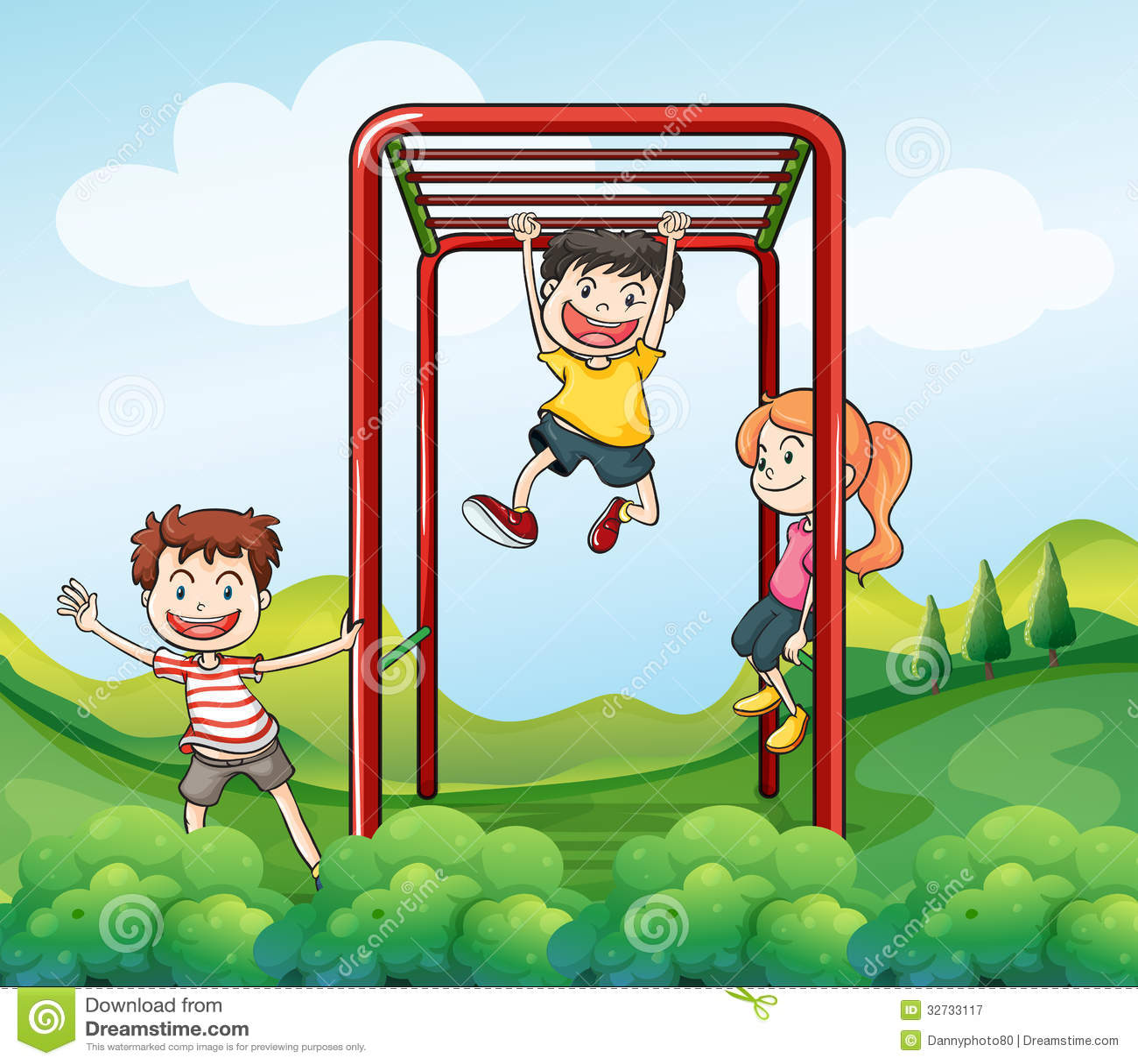 Trzy dzieciaka bawić się przy parkiem