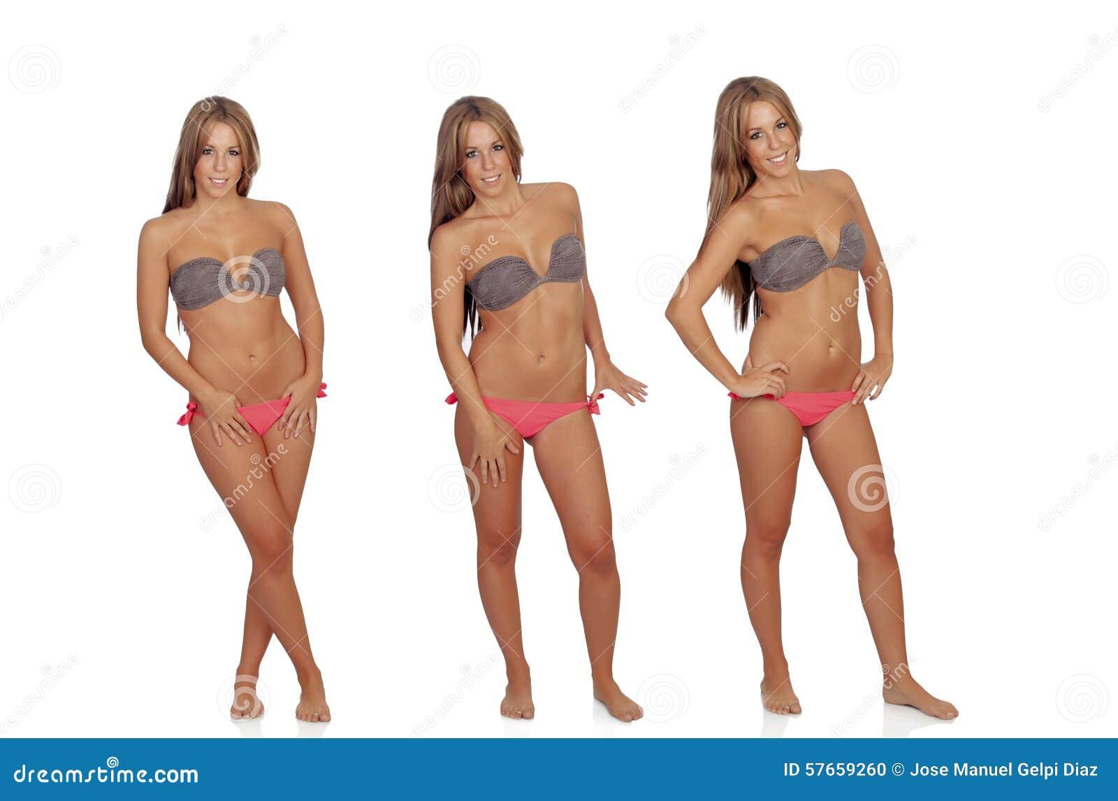 Trzy fotografii ładna kobieta w bikini