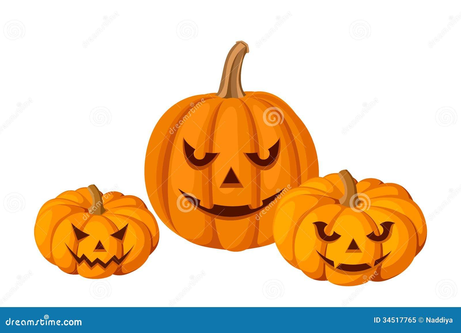 Trzy Halloweenowej bani (lampiony).