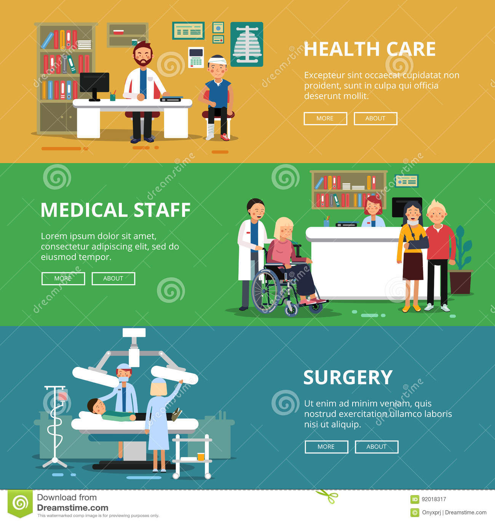 Trzy horyzontalnego wektorowego sztandaru opieki zdrowotnej pojęcia obrazki Medyczni pokoje i biura w szpitalu Pacjenci i