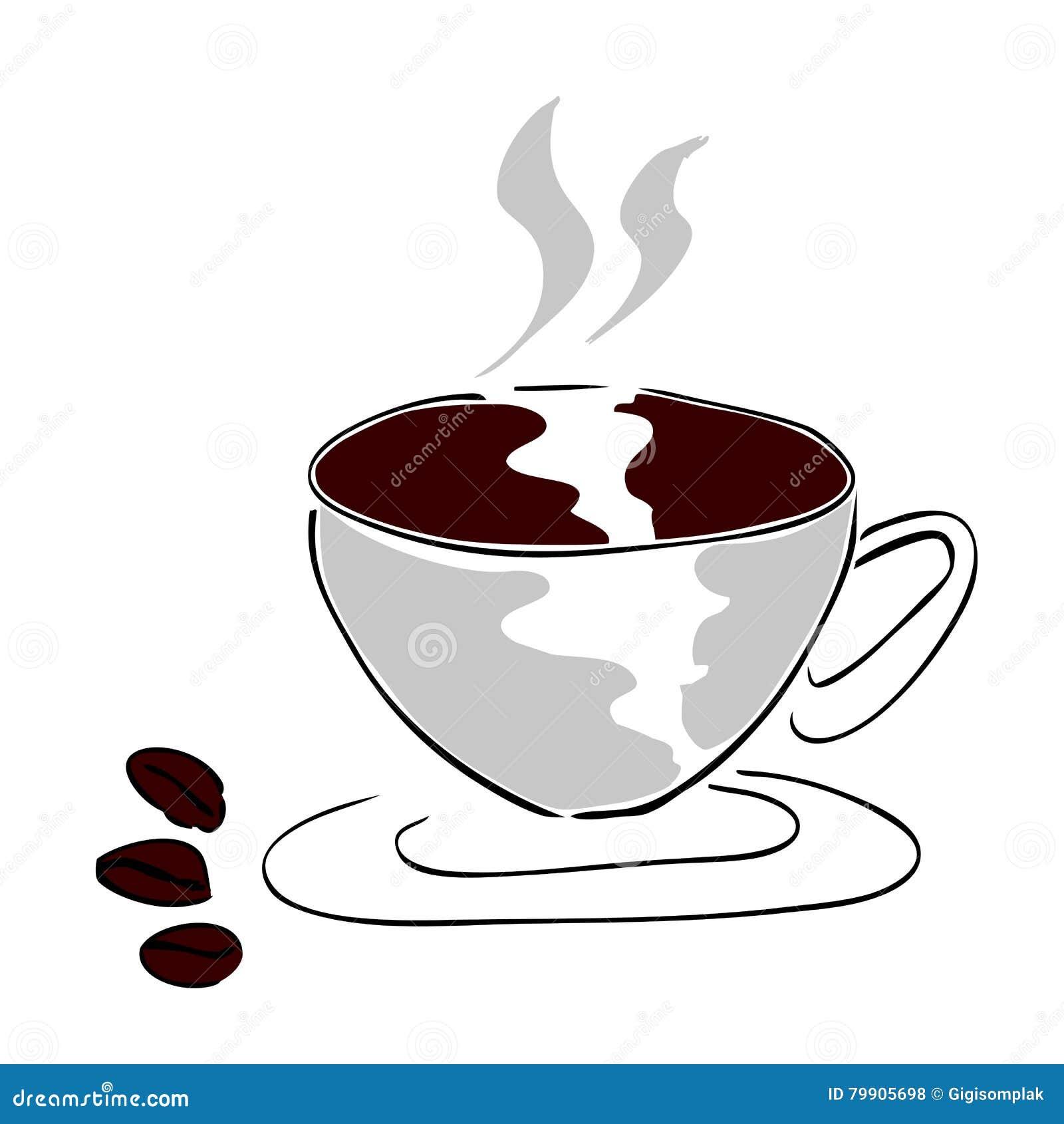 Trzy kawowa fasola i filiżanka kawy