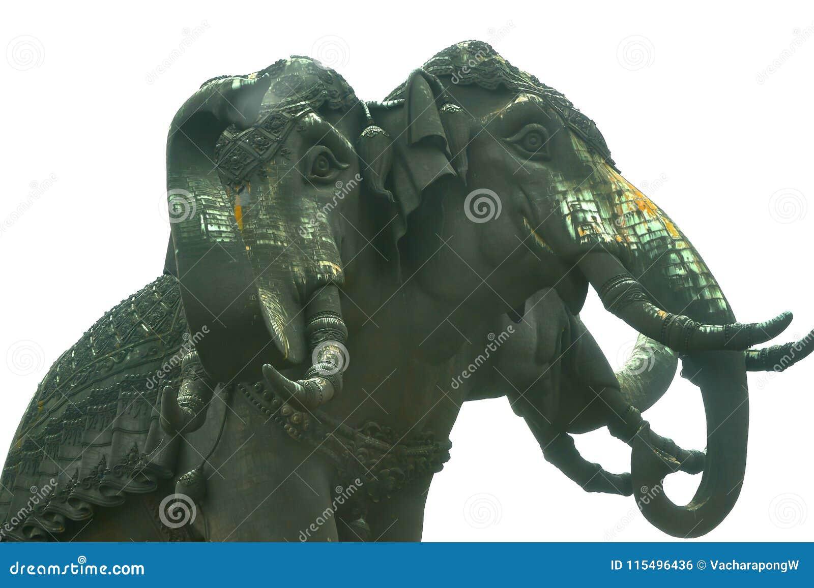 Trzy kierowniczy słoń na odosobnionym białym tle, dolny widok
