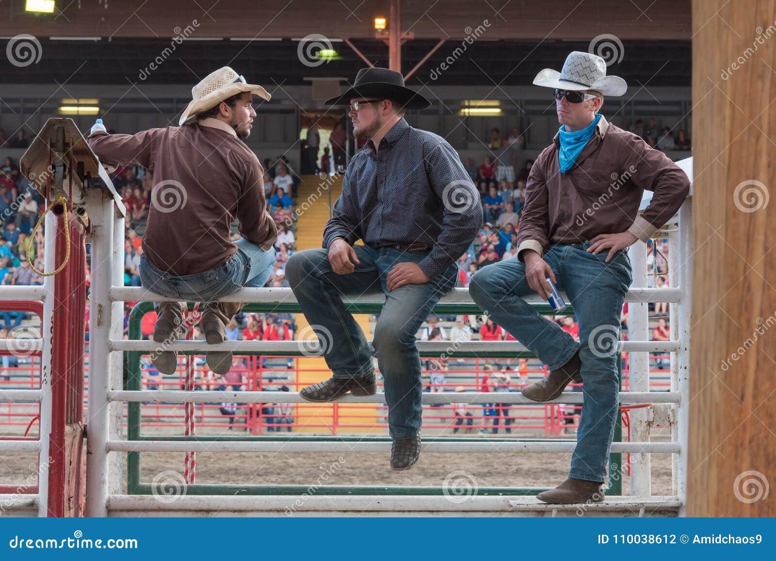 Trzy kowboja siedzą na korytkach i zegarek panice