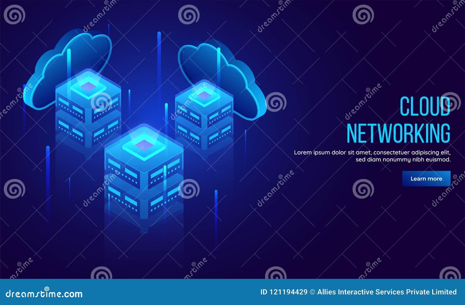 Trzy lokalnego serweru łączyli z obłocznymi serwerami, 3D illustratio