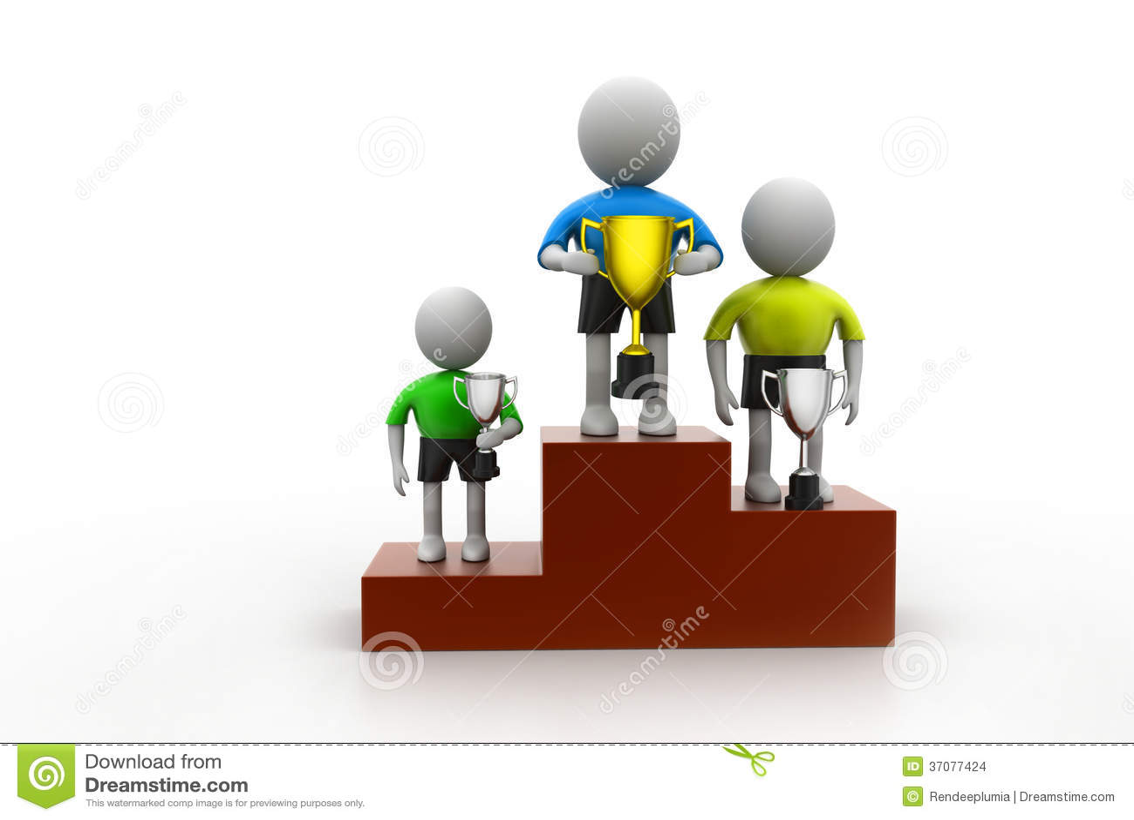 Download Trzy ludzie stoi z trofeum ilustracji. Ilustracja złożonej z zaszczyt - 37077424