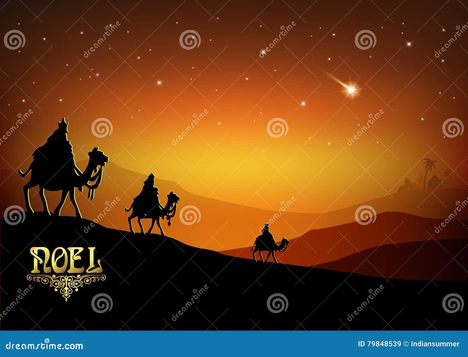 Trzy Mędrzec Odwiedzają Jezus Chrystus Po Jego Narodziny Ilustracji