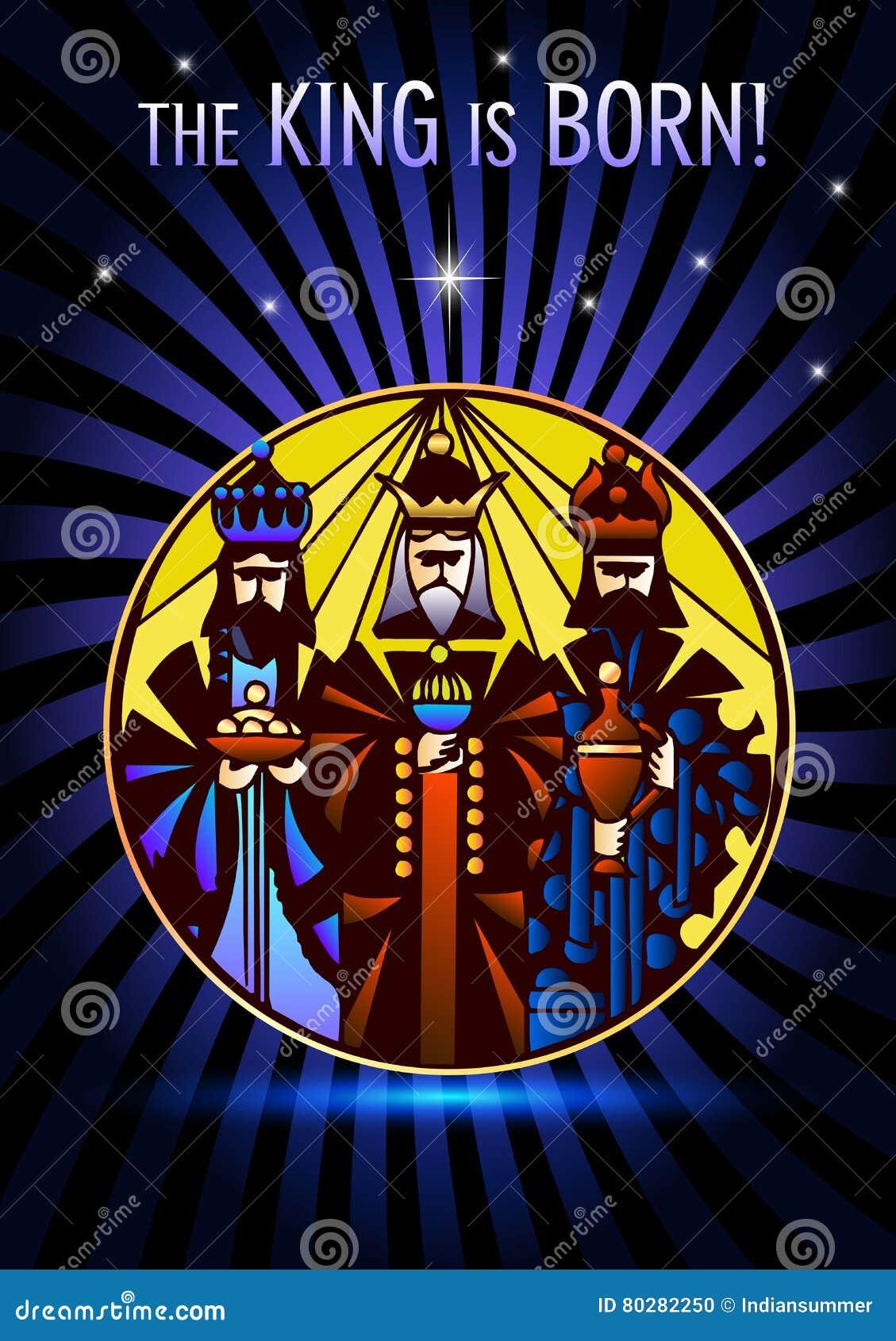 Trzy Mędrzec Odwiedzają Jezus Chrystus Po Jego Narodziny Ilustracja